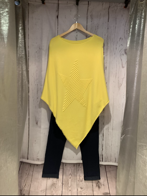 Yellow 3D star poncho