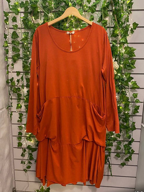 Slouch pocket dress rust