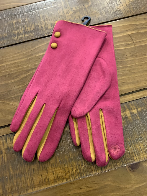 Pink and mustard gloves