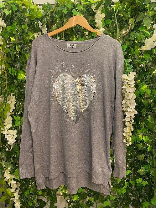 Sequine heart jumper grey
