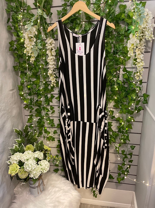 Stripy dress black