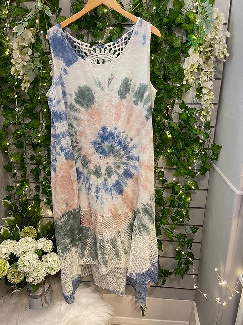 Lace tie dye dress