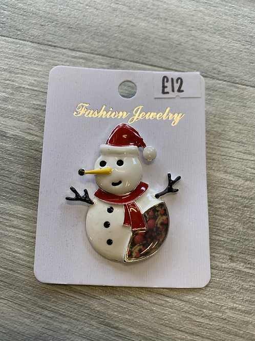 christmas snowman magnetic brooch