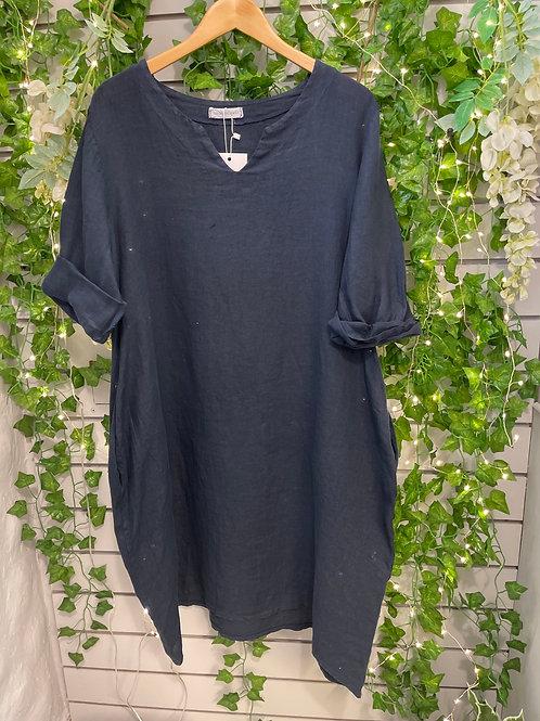 3/4 sleeve linen dress navy