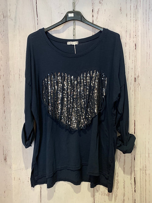 Sequin heart with tassel