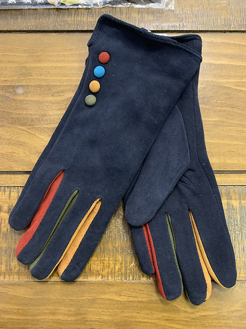 Button navy leather  gloves