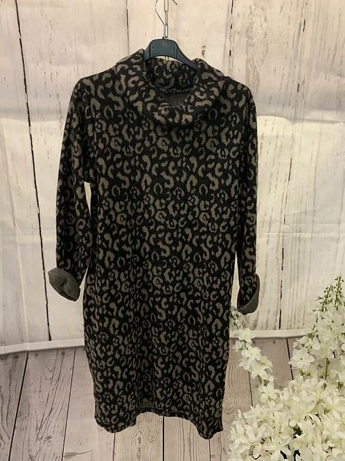 Leopard print knitted jumper dress