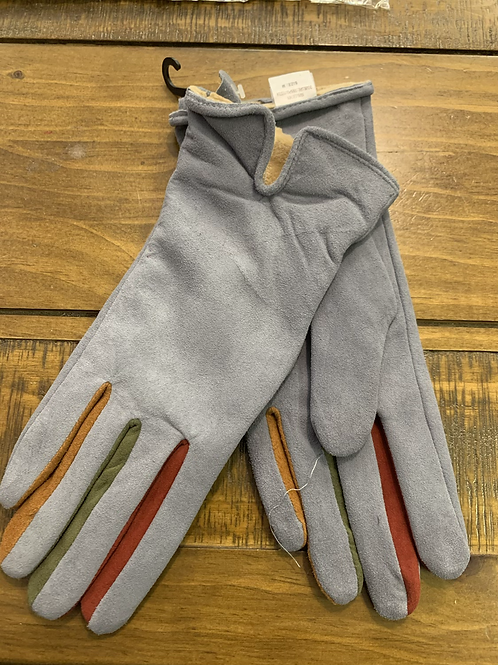 Light grey  button leather gloves