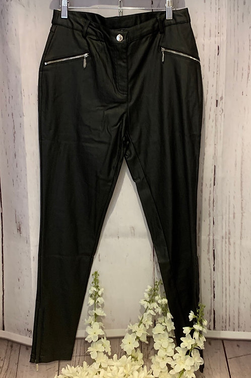 Zip leather trousers