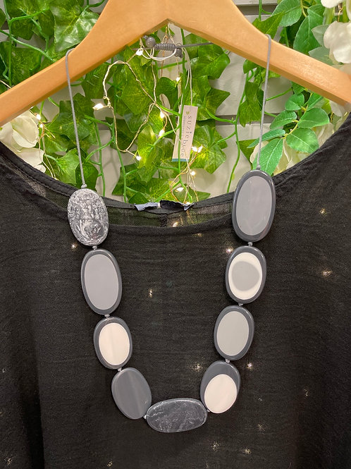 Resin grey & charcoal oval necklace