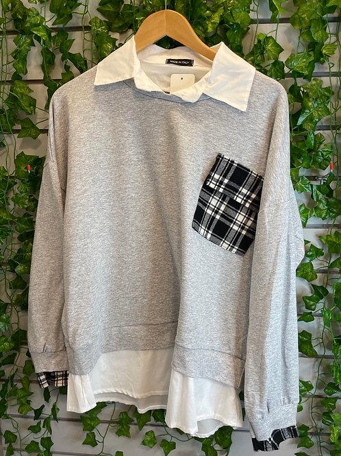 Layered shirt jumper