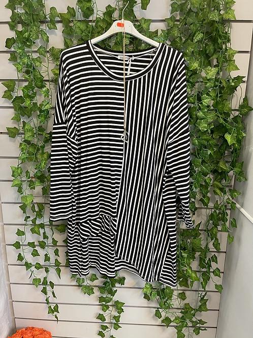 Black and white multi stripe top
