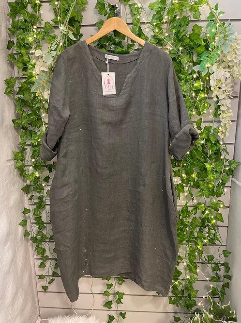 3/4 sleeve linen dress charcoal