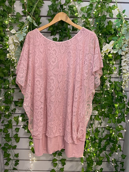 Lace stretchy top baby pink
