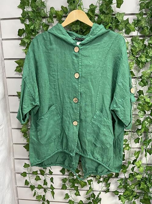 Linen hooded jacket green