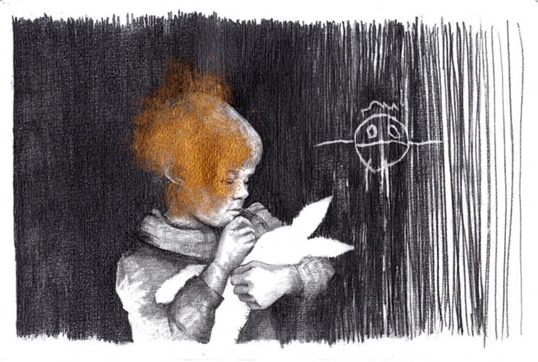 Josépha expliquant son dessin à un lapin...