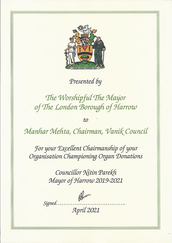 Certificate from Mayor of Harrow.png