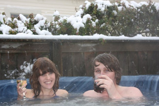 Soothe and relaxe tired muscles in our outdoor hot tub