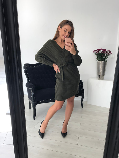 Sukienka sweterkowa Carley Olive