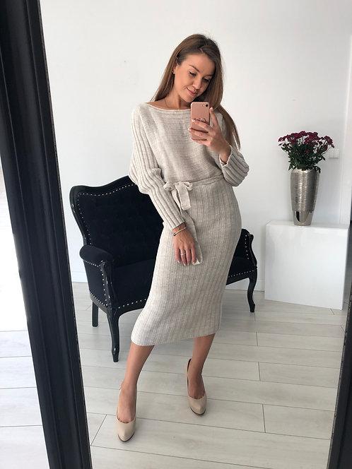 Sukienka sweterkowa Key Beige