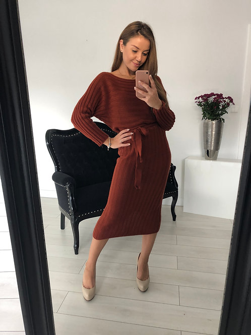 Sukienka sweterkowa Key Brown