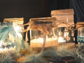 Świeczniki ze słoików i resztek tkanin