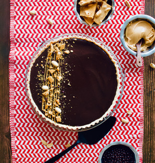Chocolate Peanut Butter Tart with Homemade Peanut Brittle