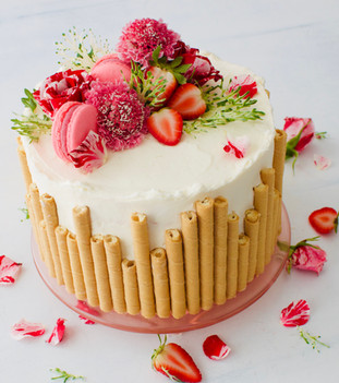 Almond Cake with Strawberry Buttercream Filling