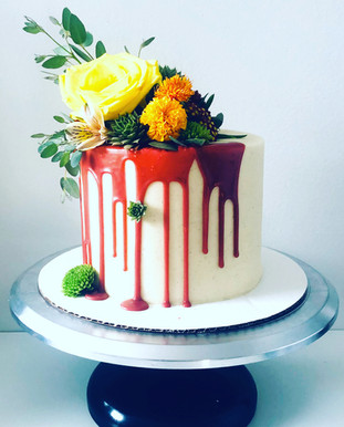 Floral Drip Cake with Live Succulents
