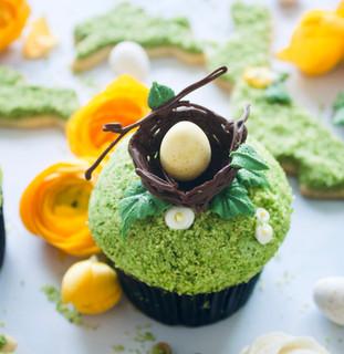 Chocolate Almond Bird's Nest Cupcakes