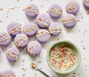 White Chocolate Funfetti Macarons