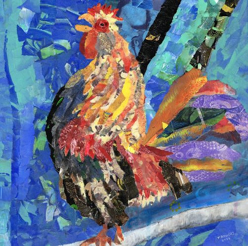 Rooster Collage 10x10x1(SOLD)