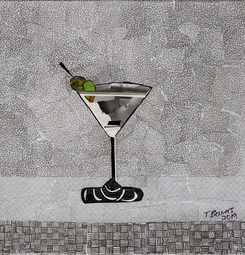 Martini Face - Collage 12x12x1.5