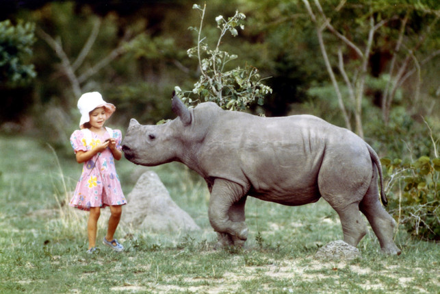 Cyanne with Samantha the rhino