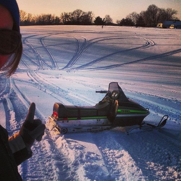 Snowmobile heart art