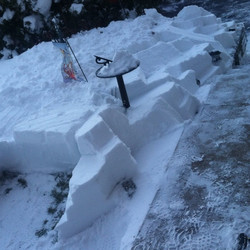 Snow sculpture I created at the entry of my parents house. The sun never hits here so it'll be there