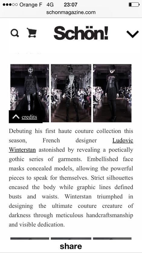Maison Ludovic Winterstan Fashion week Schon Magazine