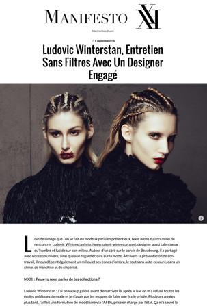 Maison Ludovic Winterstan Fashion week Manifesto
