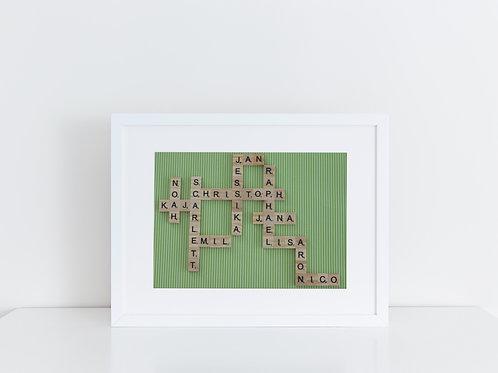 personalisiertes Familienbild Scrabble