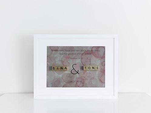 personalisiertes Hochzeitsgeschenk mit Scrabblebuchstaben