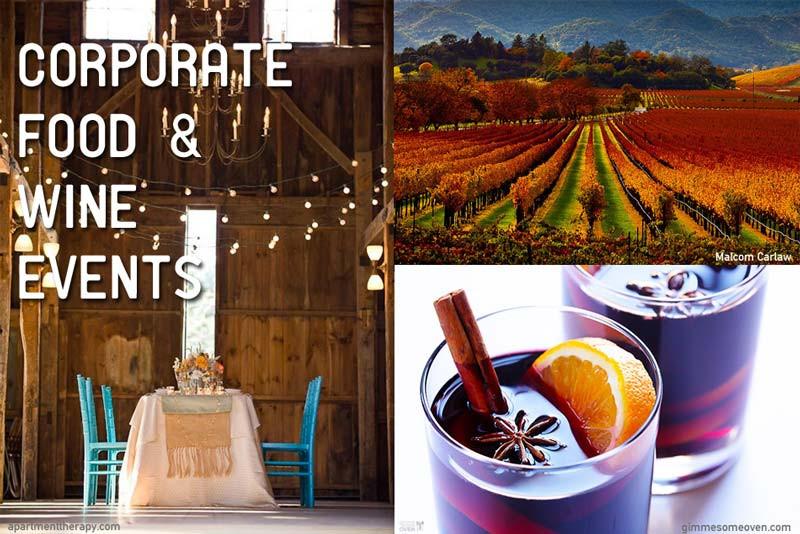 Corporate food wine events