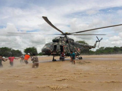 Army rescuing with helicopter