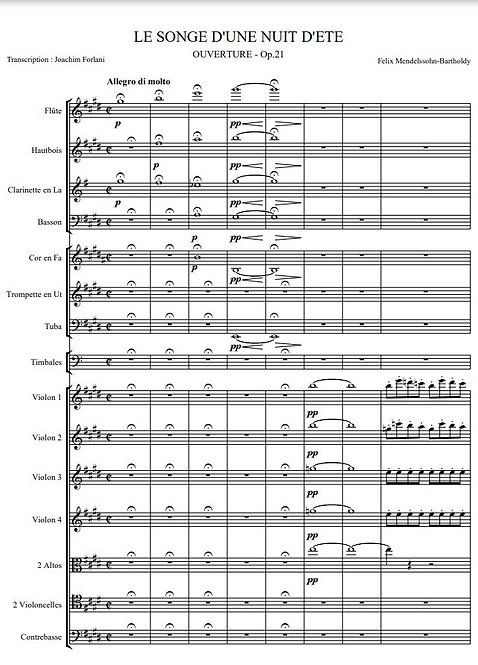Mendelssohn-Bartholdy F. - Le Songe d'une nuit d'été, Ouverture