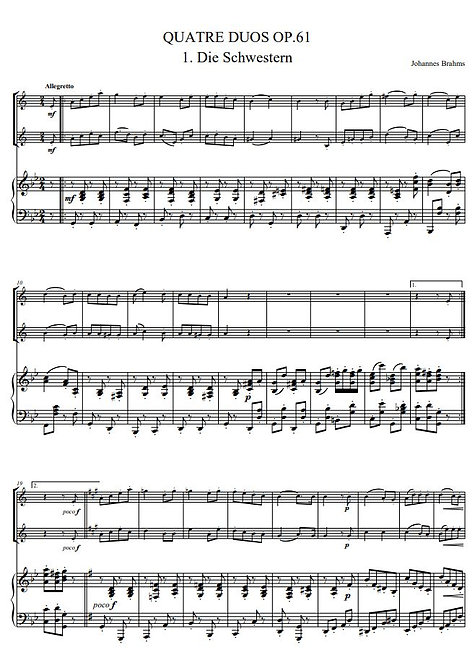 Brahms J. - Quatre Duos, Op.61_2ClPno