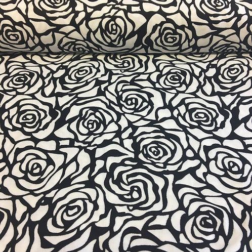 Black Rose on White Needle Cord