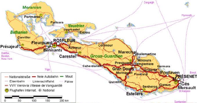 Vanguardien Verkehrskarte