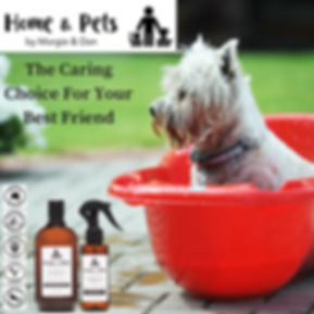 Organic, Australian Made Dog Grooming Products with dog in tub