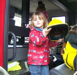 The fire engine visits us