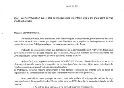 Lettre des orthophonistes à Mme Champmoreau : alerte prévention sur le port du masque dès 6 ans