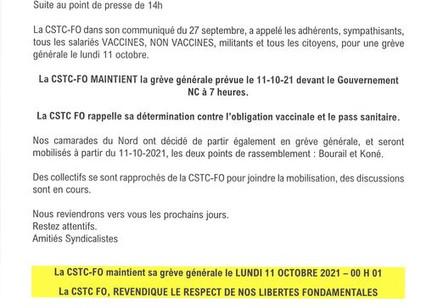 Appel grève générale du FO - Lundi 11 octobre 7H devant le Gouvernement